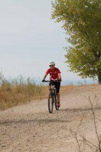 Ana en el tramo ciclista